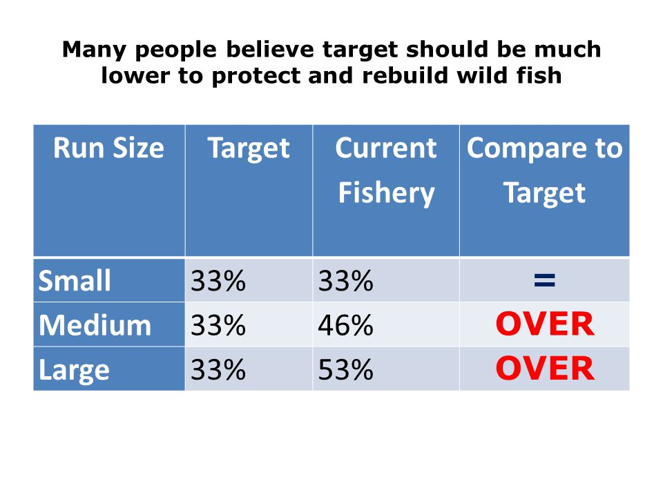 Many people believe target should be much lower to protect and rebuild wild fish Run SizeTarget Current Fishery Compare to Target Small33% = Medium33%46% OVER Large33%53% OVER
