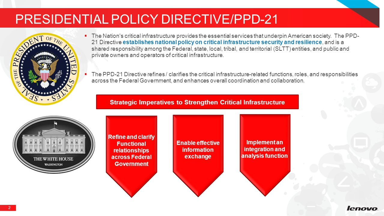 2 PRESIDENTIAL POLICY DIRECTIVE/PPD-21  The Nation s critical infrastructure provides the essential services that underpin American society.