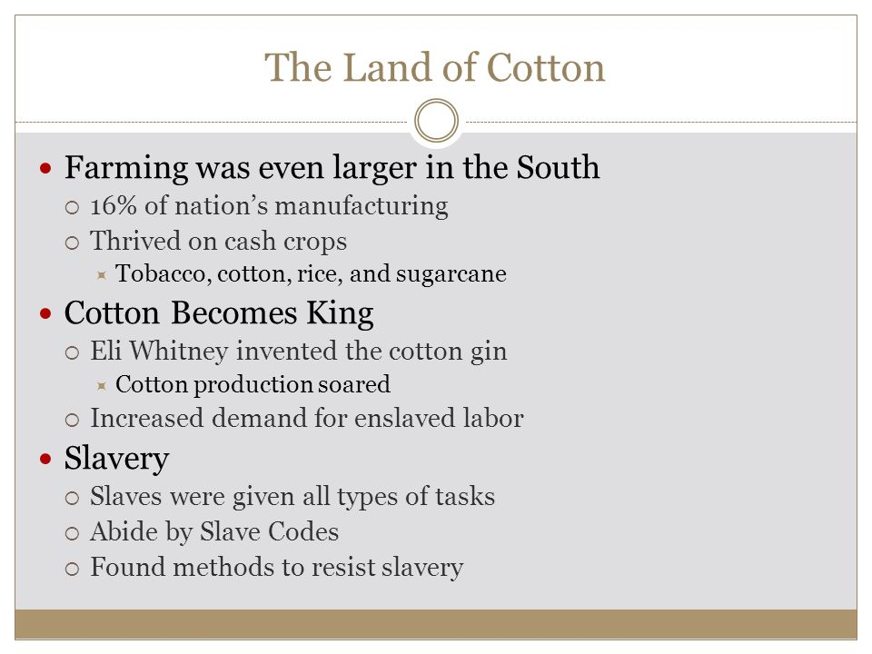 The Land of Cotton Farming was even larger in the South  16% of nation's manufacturing  Thrived on cash crops  Tobacco, cotton, rice, and sugarcane Cotton Becomes King  Eli Whitney invented the cotton gin  Cotton production soared  Increased demand for enslaved labor Slavery  Slaves were given all types of tasks  Abide by Slave Codes  Found methods to resist slavery