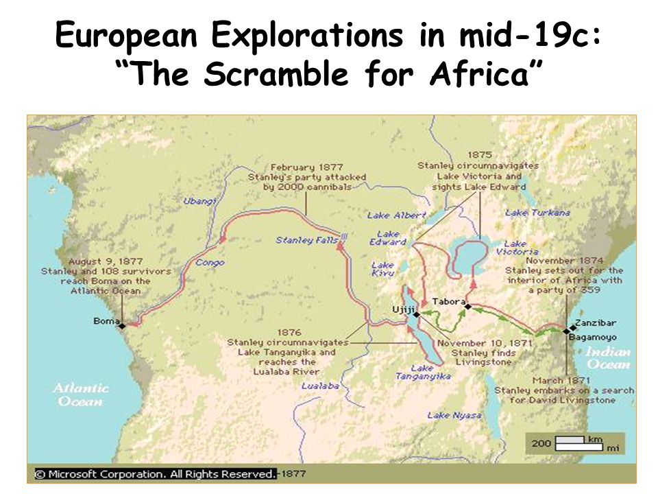 """European Explorations in mid-19c: """"The Scramble for Africa"""""""