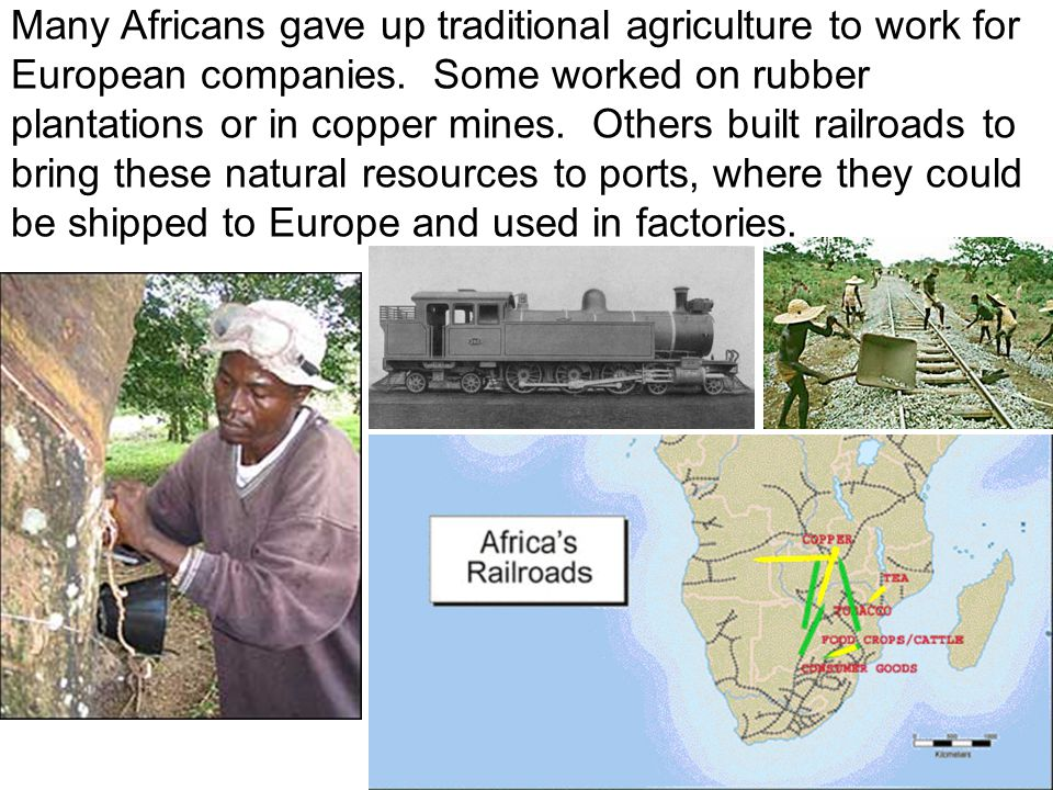 Many Africans gave up traditional agriculture to work for European companies. Some worked on rubber plantations or in copper mines. Others built railr