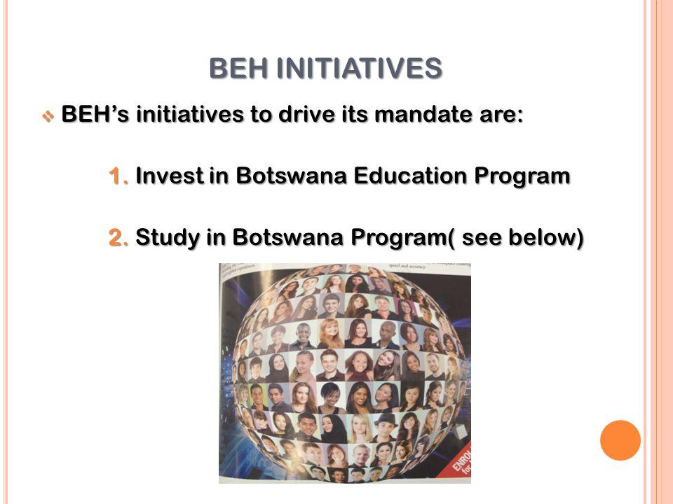 BEH INITIATIVES  BEH's initiatives to drive its mandate are: 1.