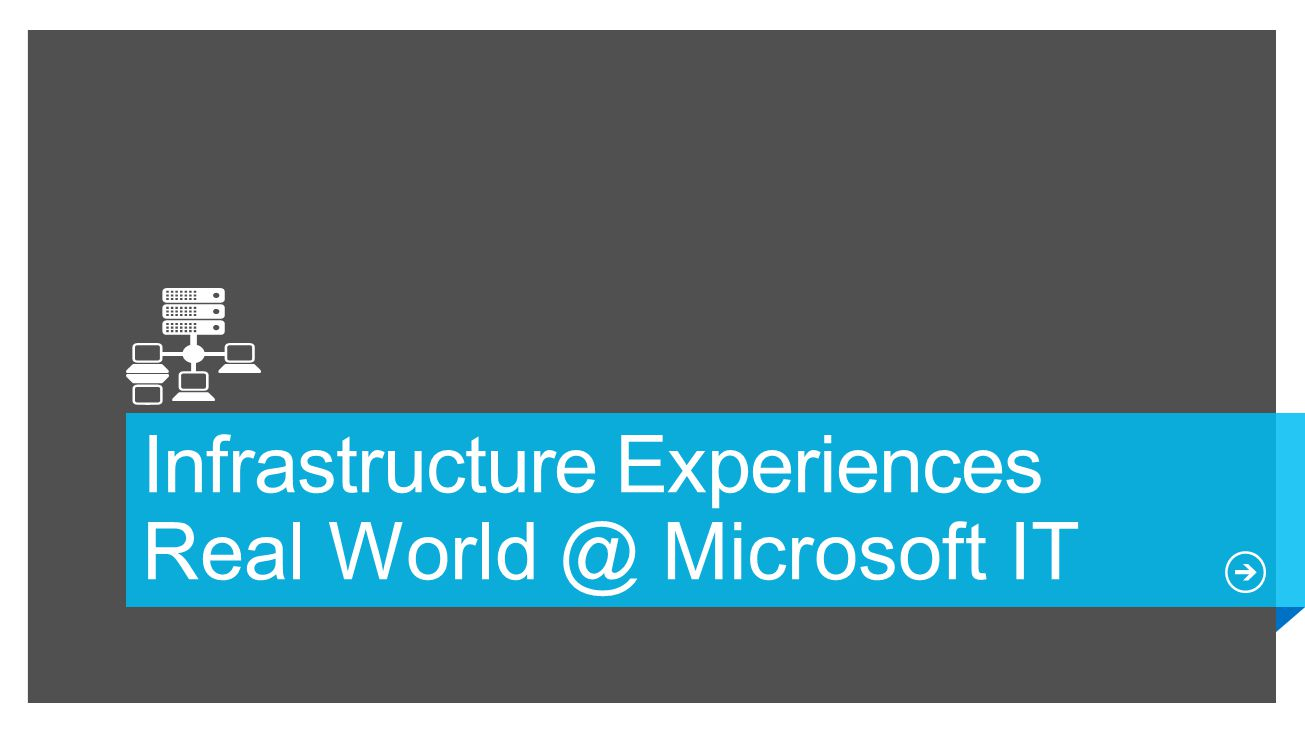 Infrastructure Experiences Real World @ Microsoft IT