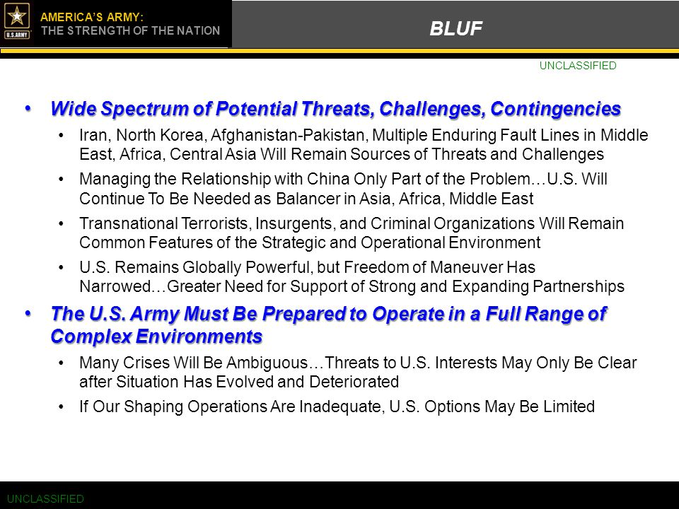 Click to edit Master title style UNCLASS/FOUO AMERICA'S ARMY: THE STRENGTH OF THE NATION BLUF UNCLASSIFIED Wide Spectrum of Potential Threats, Challen