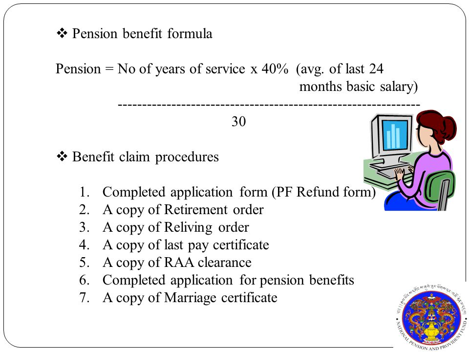 Pension = No of years of service x 40% (avg.