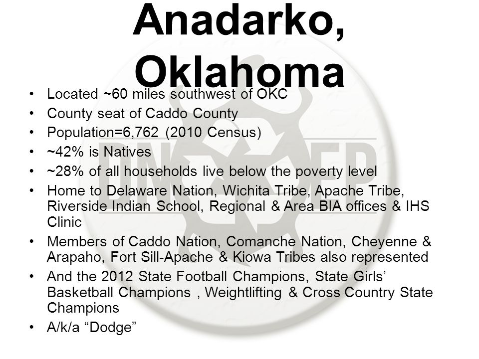 Anadarko, Oklahoma Located ~60 miles southwest of OKC County seat of Caddo County Population=6,762 (2010 Census) ~42% is Natives ~28% of all households live below the poverty level Home to Delaware Nation, Wichita Tribe, Apache Tribe, Riverside Indian School, Regional & Area BIA offices & IHS Clinic Members of Caddo Nation, Comanche Nation, Cheyenne & Arapaho, Fort Sill-Apache & Kiowa Tribes also represented And the 2012 State Football Champions, State Girls' Basketball Champions, Weightlifting & Cross Country State Champions A/k/a Dodge