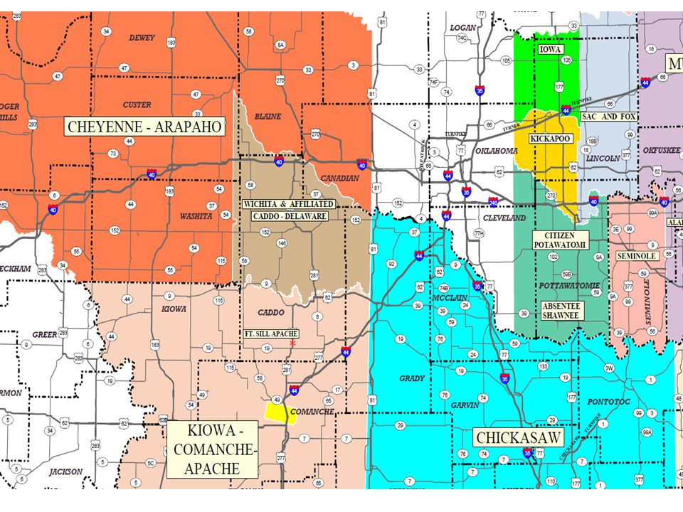 DELAWARE NATION OF OKLAHOMA Located 2 miles North of Anadarko (~60 miles southwest of OKC) Covers 1,140 square miles 729,600 acres Jurisdiction shared with Caddo Nation & Wichita Tribe Includes parts of Caddo, Grady, Blaine, Custer, Washita and Canadian Counties Current enrollment-1,456 Operates Gold River Casino-Anadarko; Casino Oklahoma-Hinton;