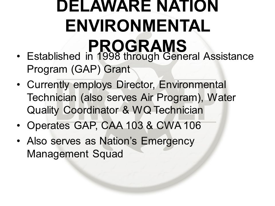 DELAWARE NATION ENVIRONMENTAL PROGRAMS Established in 1998 through General Assistance Program (GAP) Grant Currently employs Director, Environmental Technician (also serves Air Program), Water Quality Coordinator & WQ Technician Operates GAP, CAA 103 & CWA 106 Also serves as Nation's Emergency Management Squad