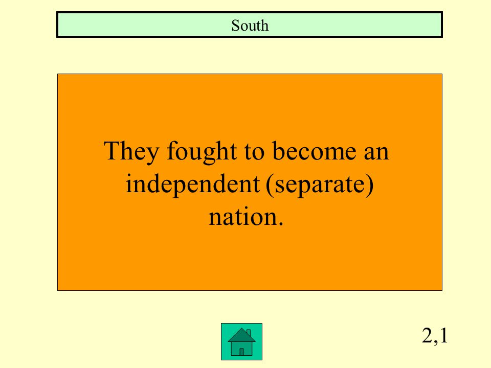 4,3 Who had a defensive war strategy? South