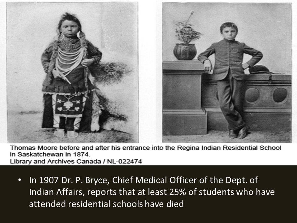 In 1907 Dr.P. Bryce, Chief Medical Officer of the Dept.