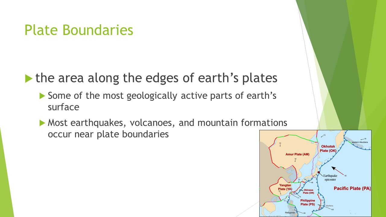 Plate Boundaries  the area along the edges of earth's plates  Some of the most geologically active parts of earth's surface  Most earthquakes, volcanoes, and mountain formations occur near plate boundaries