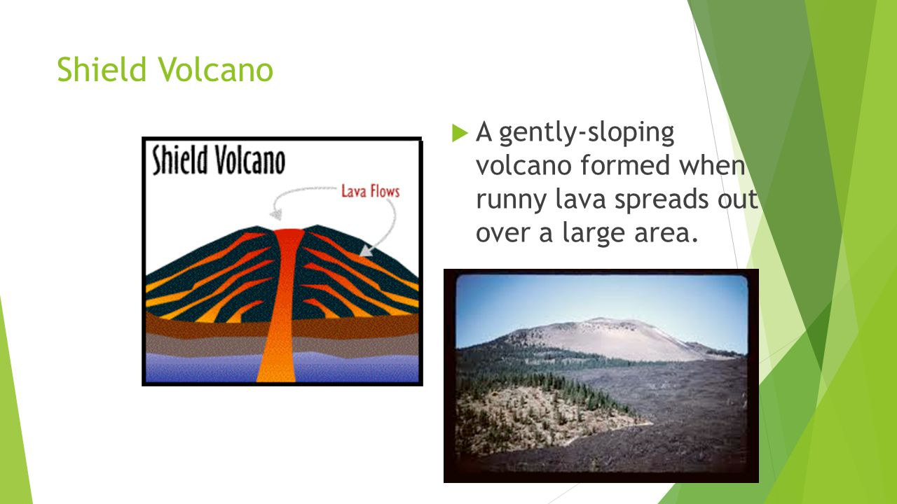 Shield Volcano  A gently-sloping volcano formed when runny lava spreads out over a large area.
