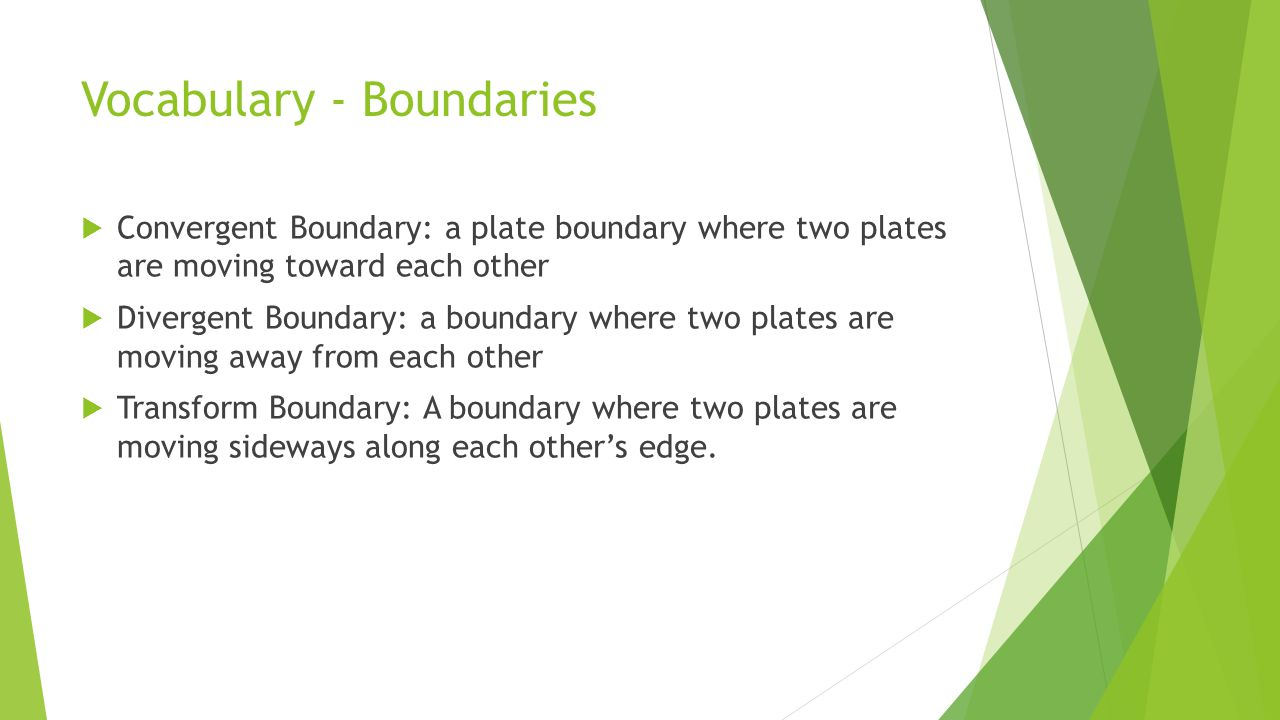 Vocabulary - Boundaries  Convergent Boundary: a plate boundary where two plates are moving toward each other  Divergent Boundary: a boundary where two plates are moving away from each other  Transform Boundary: A boundary where two plates are moving sideways along each other's edge.