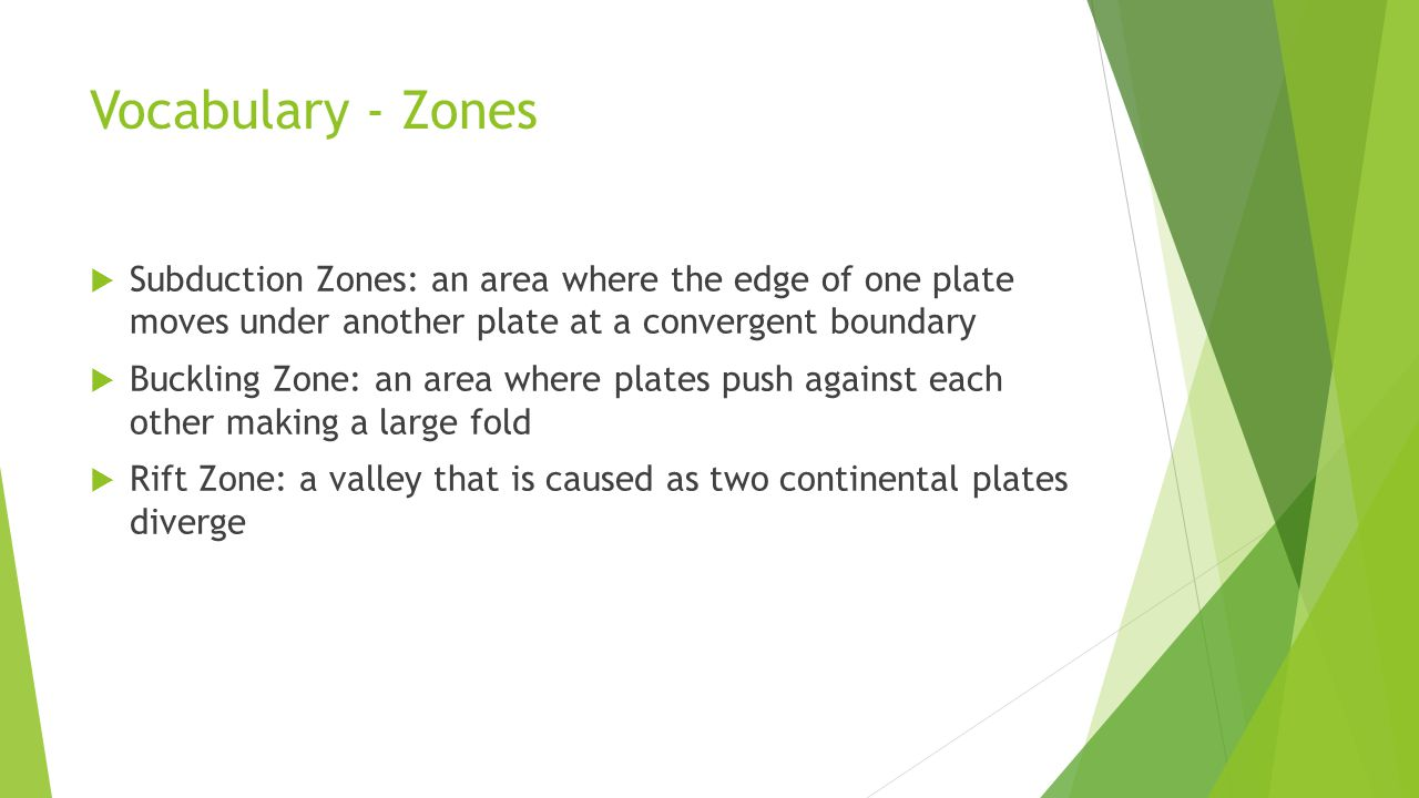 Vocabulary - Zones  Subduction Zones: an area where the edge of one plate moves under another plate at a convergent boundary  Buckling Zone: an area where plates push against each other making a large fold  Rift Zone: a valley that is caused as two continental plates diverge