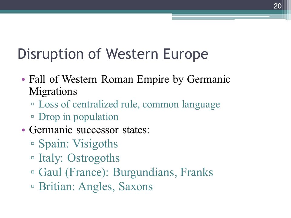 20 Disruption of Western Europe Fall of Western Roman Empire by Germanic Migrations ▫ Loss of centralized rule, common language ▫ Drop in population Germanic successor states: ▫ Spain: Visigoths ▫ Italy: Ostrogoths ▫ Gaul (France): Burgundians, Franks ▫ Britian: Angles, Saxons