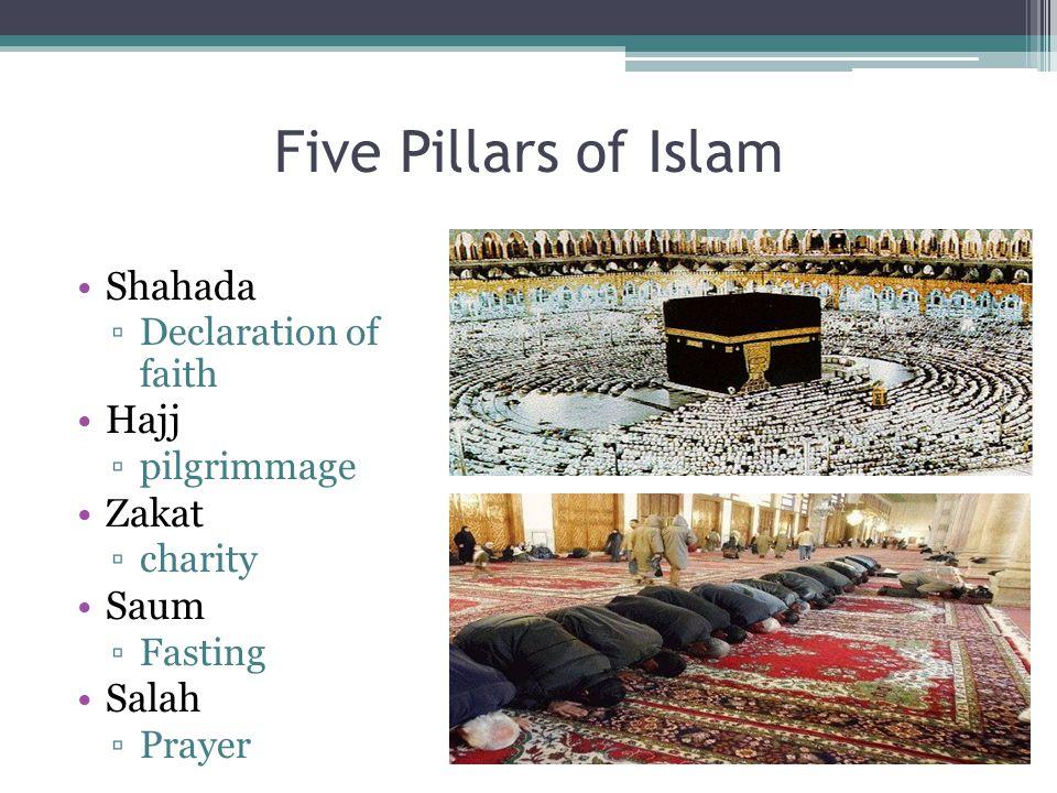 Five Pillars of Islam Shahada ▫Declaration of faith Hajj ▫pilgrimmage Zakat ▫charity Saum ▫Fasting Salah ▫Prayer
