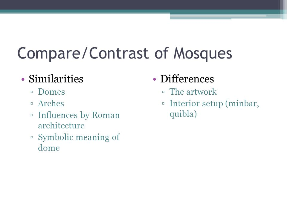 Compare/Contrast of Mosques Similarities ▫Domes ▫Arches ▫Influences by Roman architecture ▫Symbolic meaning of dome Differences ▫The artwork ▫Interior
