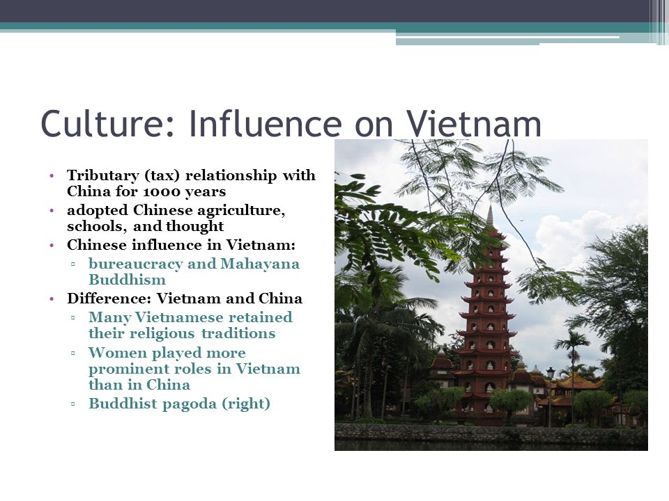 Culture: Influence on Vietnam Tributary (tax) relationship with China for 1000 years adopted Chinese agriculture, schools, and thought Chinese influence in Vietnam: ▫bureaucracy and Mahayana Buddhism Difference: Vietnam and China ▫Many Vietnamese retained their religious traditions ▫Women played more prominent roles in Vietnam than in China ▫Buddhist pagoda (right)