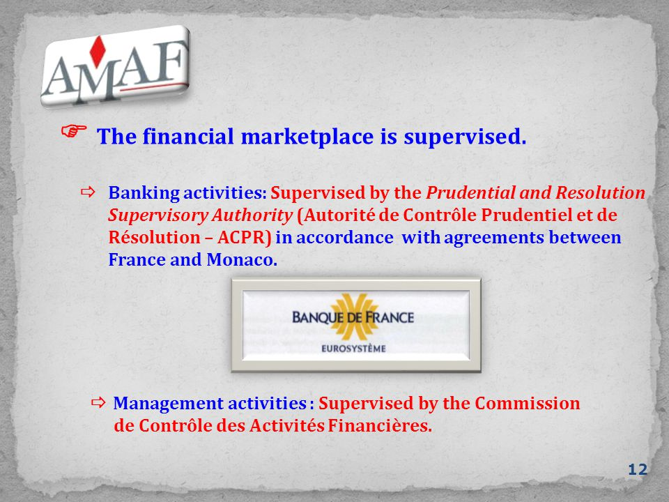  The financial marketplace is supervised. 12  Banking activities: Supervised by the Prudential and Resolution Supervisory Authority (Autorité de Con