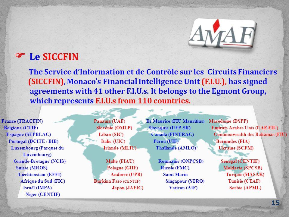  Le SICCFIN 15 The Service d'Information et de Contrôle sur les Circuits Financiers (SICCFIN), Monaco's Financial Intelligence Unit (F.I.U.), has signed agreements with 41 other F.I.U.s.