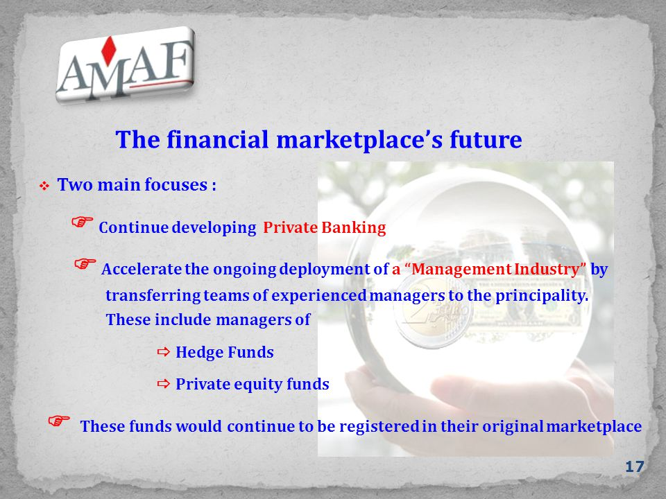 The financial marketplace's future 17  Continue developing Private Banking  Hedge Funds  Two main focuses :  Private equity funds  Accelerate the