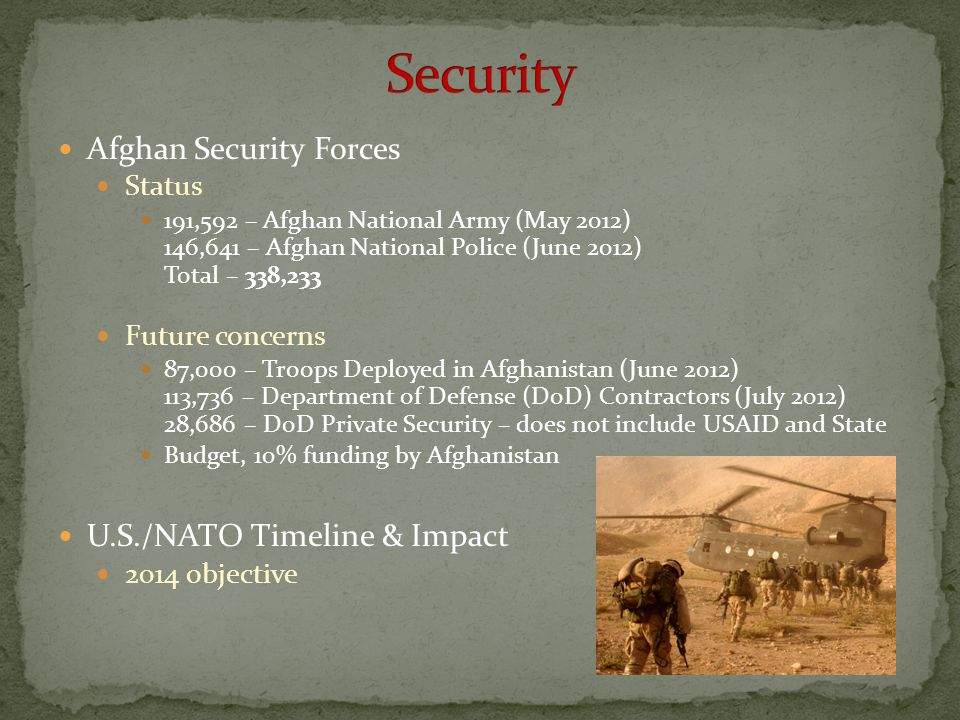 Afghan Security Forces Status 191,592 – Afghan National Army (May 2012) 146,641 – Afghan National Police (June 2012) Total – 338,233 Future concerns 8