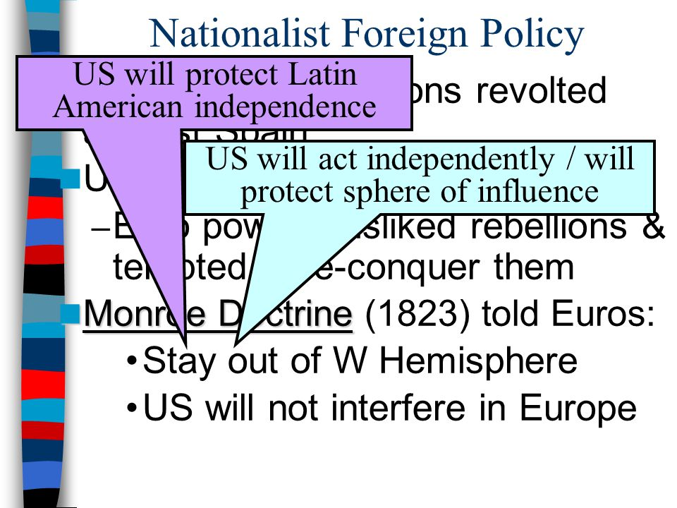 Nationalist Foreign Policy Latin American nations revolted against Spain US supported new republics: – Euro powers disliked rebellions & tempted to re