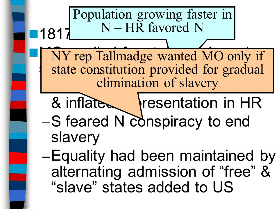 Missouri Compromise 1817: MO applied for statehood as slave state / revealed sectional rivalries: – N resented S control of POTUS & inflated represent