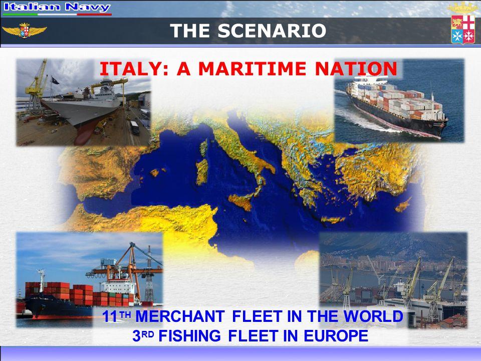 THE SCENARIO 11 TH MERCHANT FLEET IN THE WORLD 3 RD FISHING FLEET IN EUROPE ITALY: A MARITIME NATION