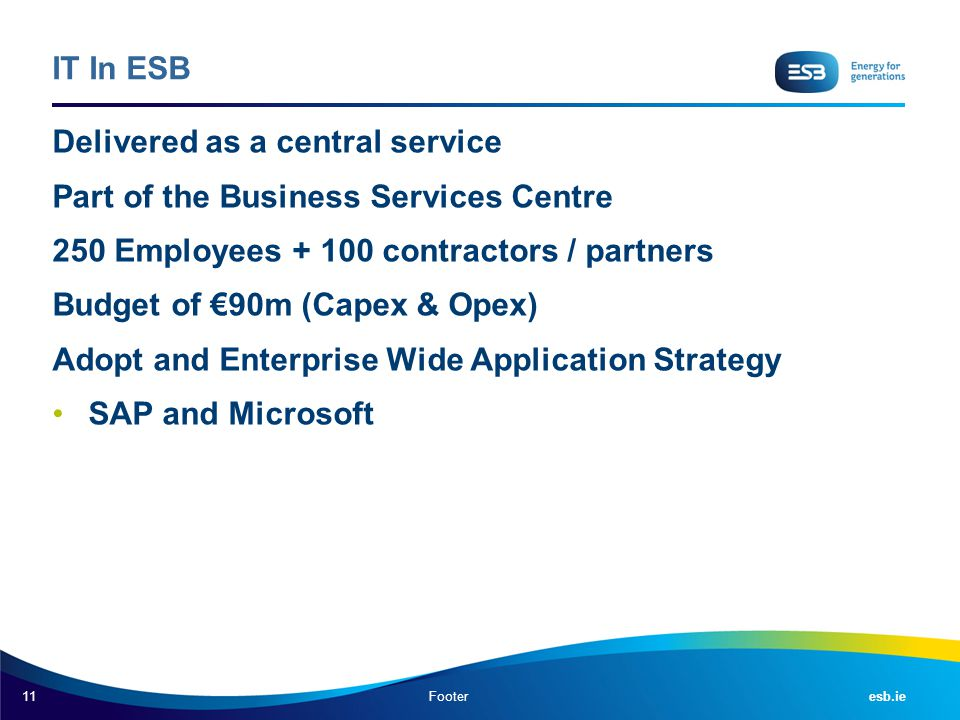 11 esb.ie IT In ESB Delivered as a central service Part of the Business Services Centre 250 Employees + 100 contractors / partners Budget of €90m (Cap