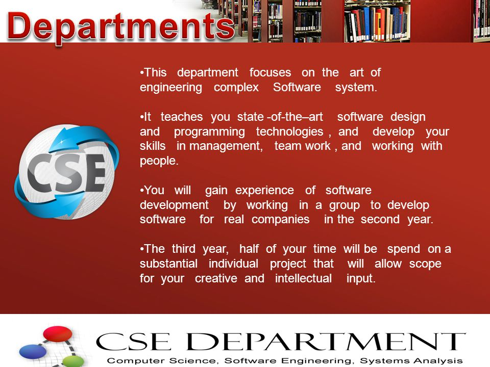 This department focuses on the art of engineering complex Software system.