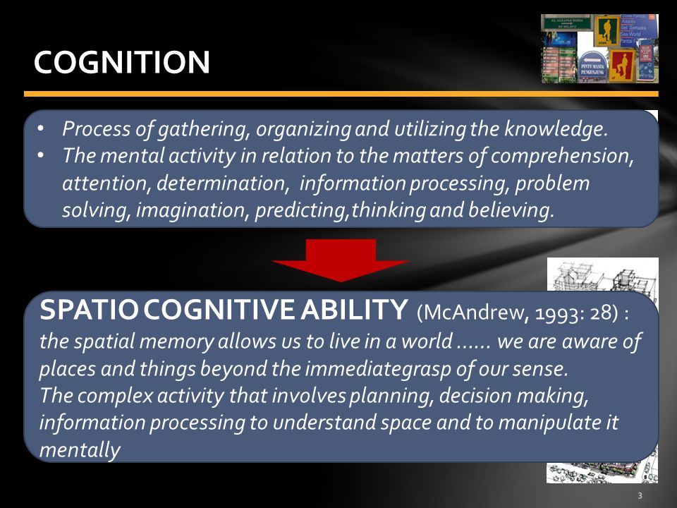 3 COGNITION Process of gathering, organizing and utilizing the knowledge.