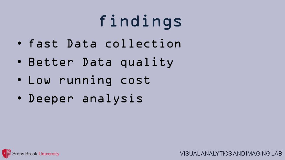 fast Data collection Better Data quality Low running cost Deeper analysis findings