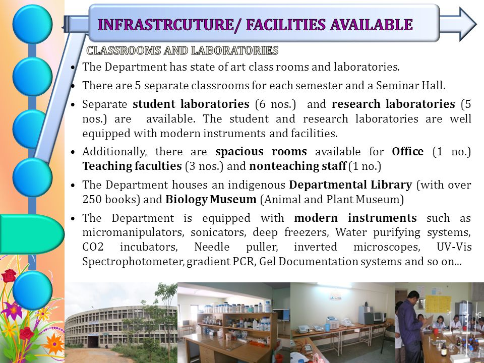 The Department has state of art class rooms and laboratories.