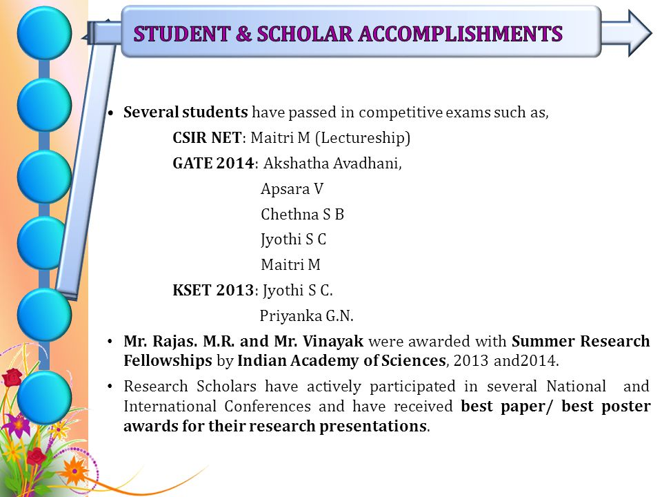 Several students have passed in competitive exams such as, CSIR NET: Maitri M (Lectureship) GATE 2014: Akshatha Avadhani, Apsara V Chethna S B Jyothi S C Maitri M KSET 2013: Jyothi S C.