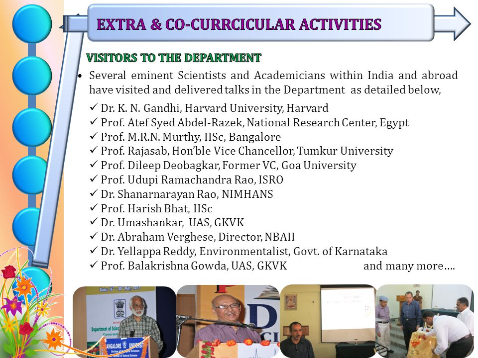 Several eminent Scientists and Academicians within India and abroad have visited and delivered talks in the Department as detailed below, Dr.