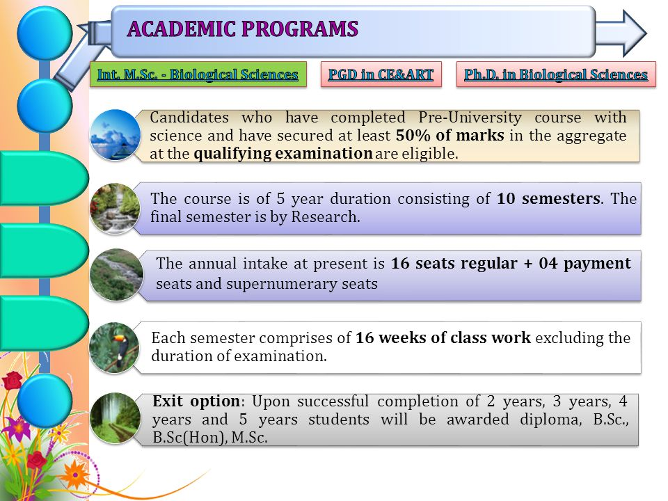 The course is of 5 year duration consisting of 10 semesters.