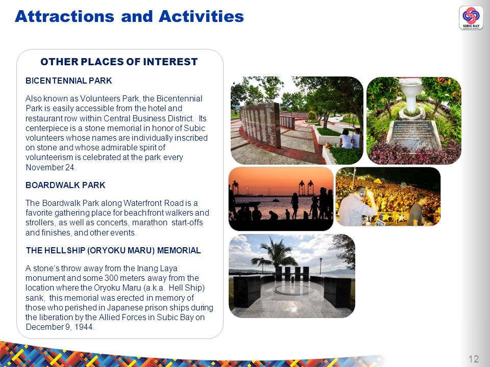 12 OTHER PLACES OF INTEREST BICENTENNIAL PARK Also known as Volunteers Park, the Bicentennial Park is easily accessible from the hotel and restaurant row within Central Business District.