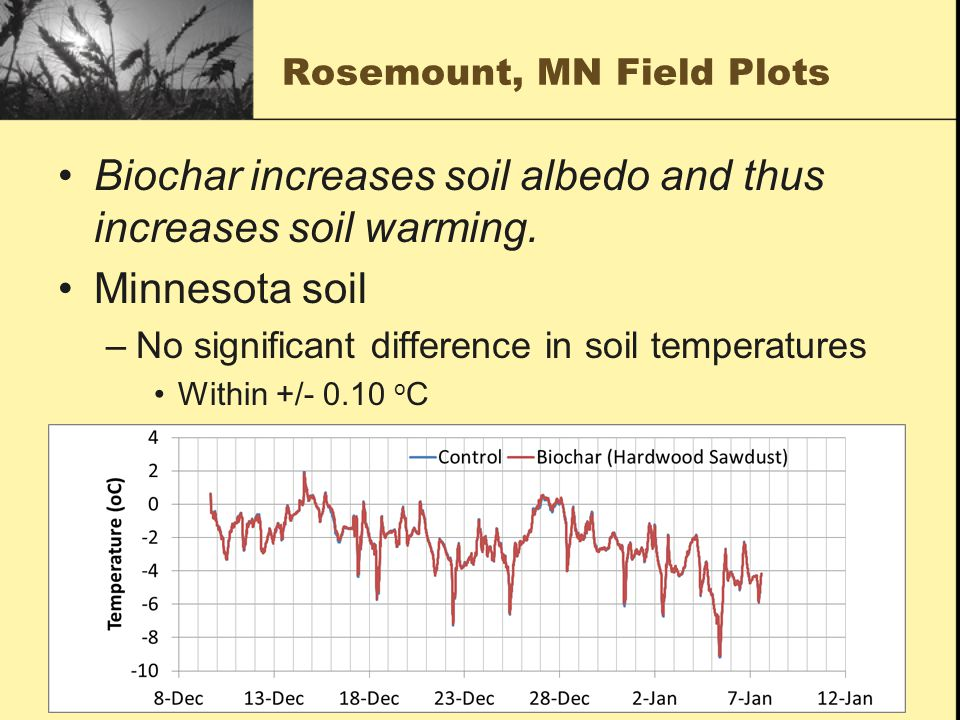 Rosemount, MN Field Plots Biochar increases soil albedo and thus increases soil warming. Minnesota soil –No significant difference in soil temperature