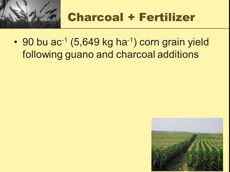 Charcoal + Fertilizer 90 bu ac -1 (5,649 kg ha -1 ) corn grain yield following guano and charcoal additions