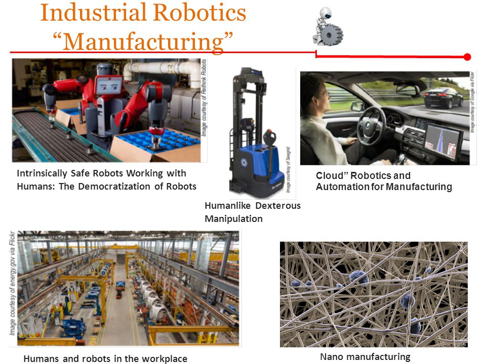 Intrinsically Safe Robots Working with Humans: The Democratization of Robots Industrial Robotics Manufacturing Humanlike Dexterous Manipulation Humans and robots in the workplace Cloud Robotics and Automation for Manufacturing Nano manufacturing