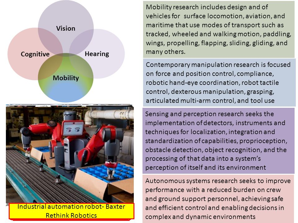 Sensing and perception research seeks the implementation of detectors, instruments and techniques for localization, integration and standardization of capabilities, proprioception, obstacle detection, object recognition, and the processing of that data into a system's perception of itself and its environment Mobility research includes design and of vehicles for surface locomotion, aviation, and maritime that use modes of transport such as tracked, wheeled and walking motion, paddling, wings, propelling, flapping, sliding, gliding, and many others.