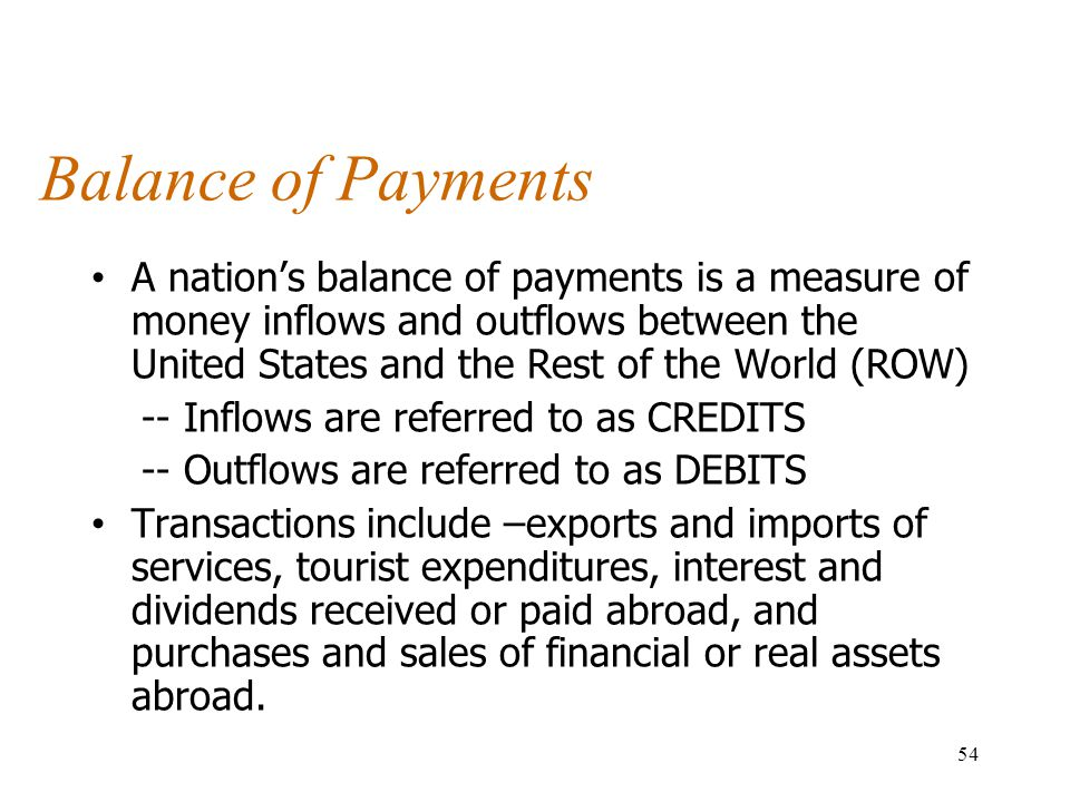 Balance of Payments A nation's balance of payments is a measure of money inflows and outflows between the United States and the Rest of the World (ROW) -- Inflows are referred to as CREDITS -- Outflows are referred to as DEBITS Transactions include –exports and imports of services, tourist expenditures, interest and dividends received or paid abroad, and purchases and sales of financial or real assets abroad.
