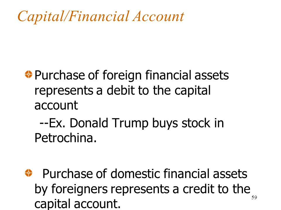 Capital/Financial Account Purchase of foreign financial assets represents a debit to the capital account --Ex.