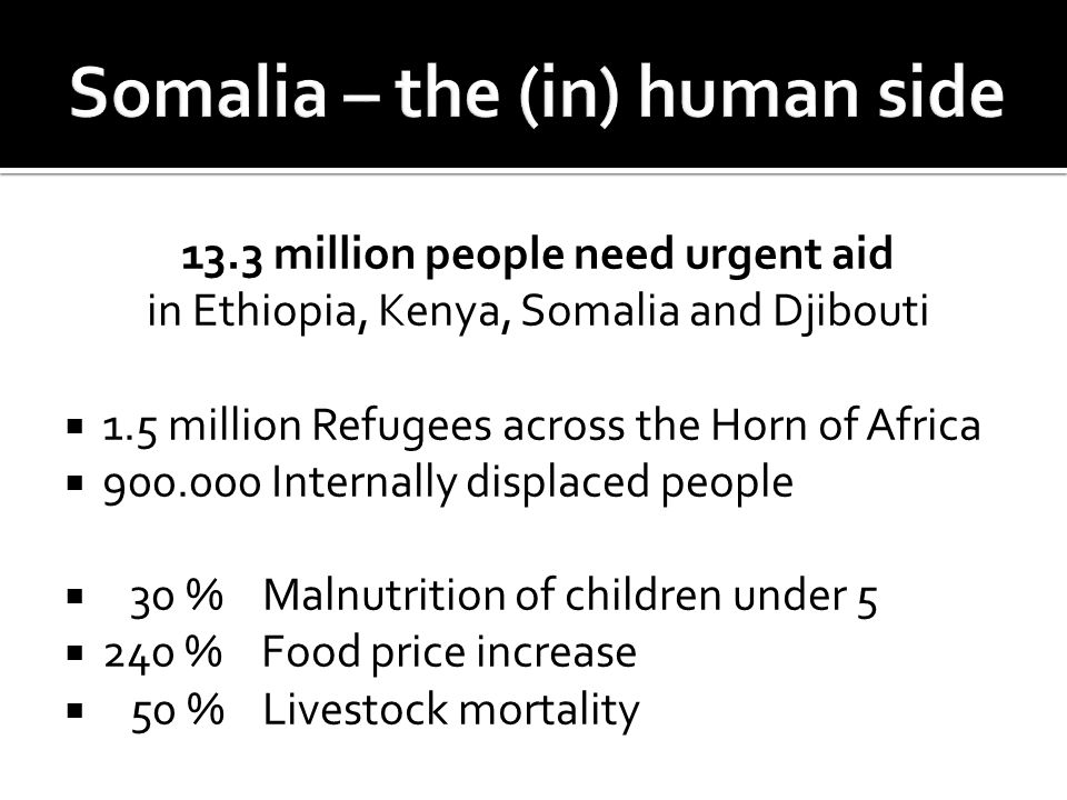 13.3 million people need urgent aid in Ethiopia, Kenya, Somalia and Djibouti  1.5 million Refugees across the Horn of Africa  900.000 Internally displaced people  30 % Malnutrition of children under 5  240 % Food price increase  50 % Livestock mortality