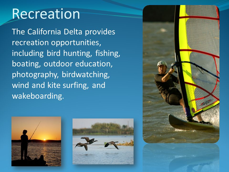 The California Delta provides recreation opportunities, including bird hunting, fishing, boating, outdoor education, photography, birdwatching, wind and kite surfing, and wakeboarding.