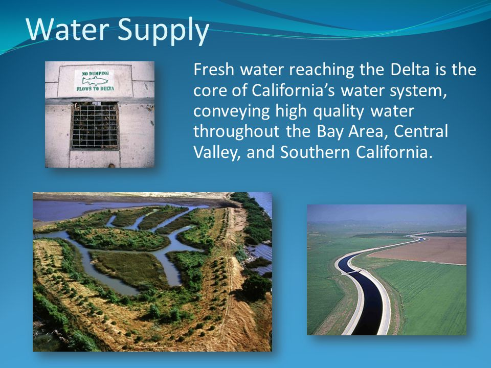 Water Supply Fresh water reaching the Delta is the core of California's water system, conveying high quality water throughout the Bay Area, Central Valley, and Southern California.