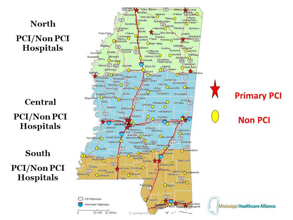 Primary PCI Non PCI South PCI/Non PCI Hospitals Central PCI/Non PCI Hospitals North PCI/Non PCI Hospitals