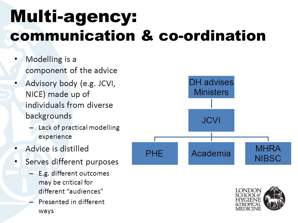 Multi-agency: communication & co-ordination Modelling is a component of the advice Advisory body (e.g. JCVI, NICE) made up of individuals from diverse