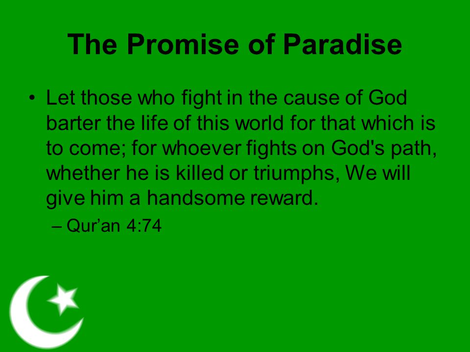 Islamic Terrorism Chooses the second type of Jihad mentioned before Most Muslims in the world do not choose such, but they do so through a soft interpretation of their faith Terrorists take the teachings of their faith more literally